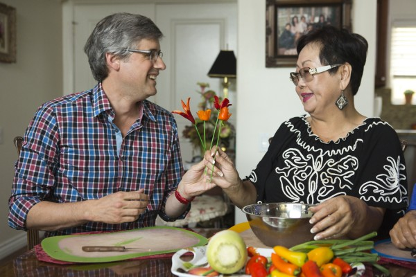 Host Mo Rocca learns how to make vegetable flower arrangements from guest Ki Sook Yoo on Cooking Channel's My Grandmother's Ravioli